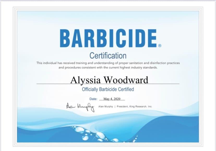 Alyssia Woodward Barbicide Certification