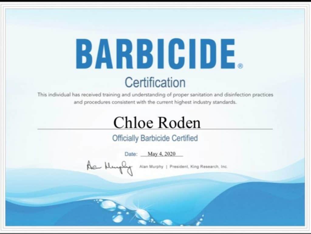Chloe Roden Barbicide Certification