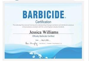 Jessica Williams Barbicide Certification