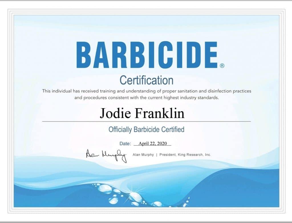 Jodie Franklin Barbicide Certification