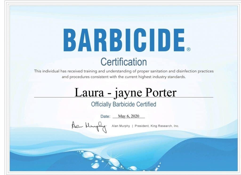 Laura-Jayne Porter Barbicide Certification