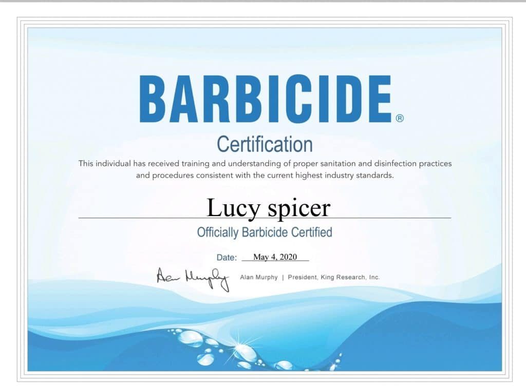 Lucy Spicer Barbicide Certification