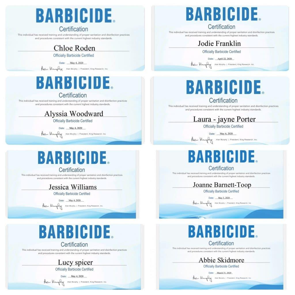 Barbicide Certifications
