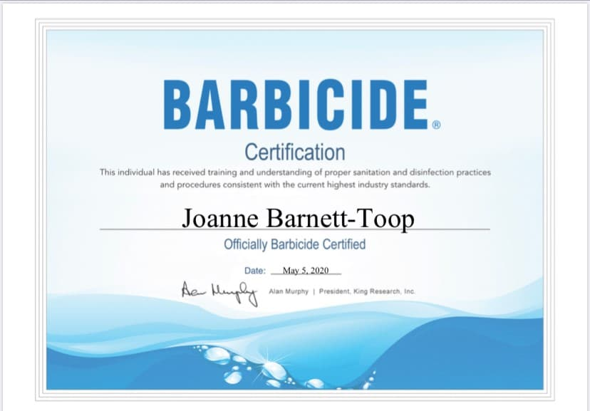 Joanne Barnett-Toop Barbicide Certification