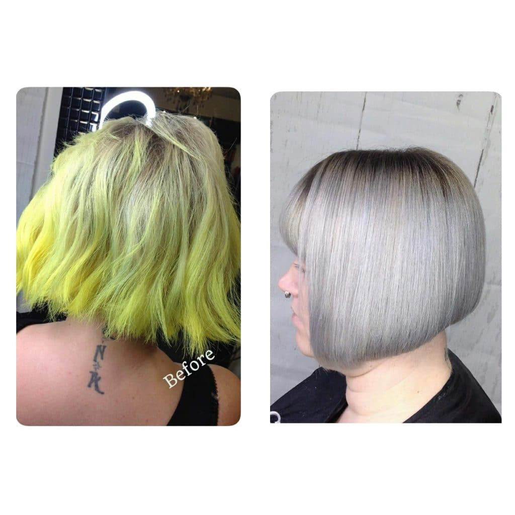 Before and After Yellow to Silver Transformation