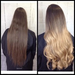 Before and After Caramel Balayage