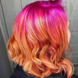 Pink To Orange Short Curly Hair
